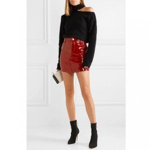 RtA Callie Red Genuine Leather Mini Skirt 2019